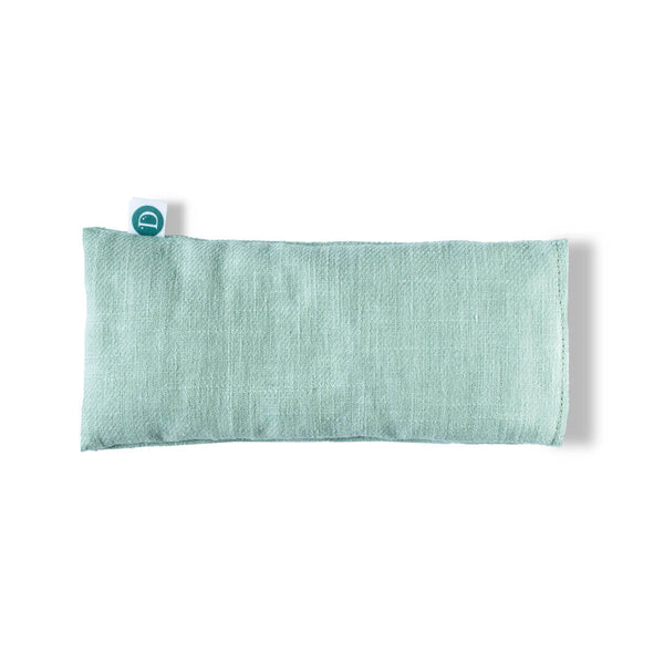 Natural Lavender and Flaxseed eye pillow for relaxation yoga and to aid sleep in pastel green colour by Deerieo Natural Skincare
