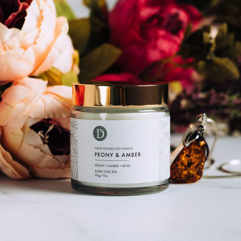 Deerieo Peony and Amber votive soy candle limited edition scented with peony, amber, rose.