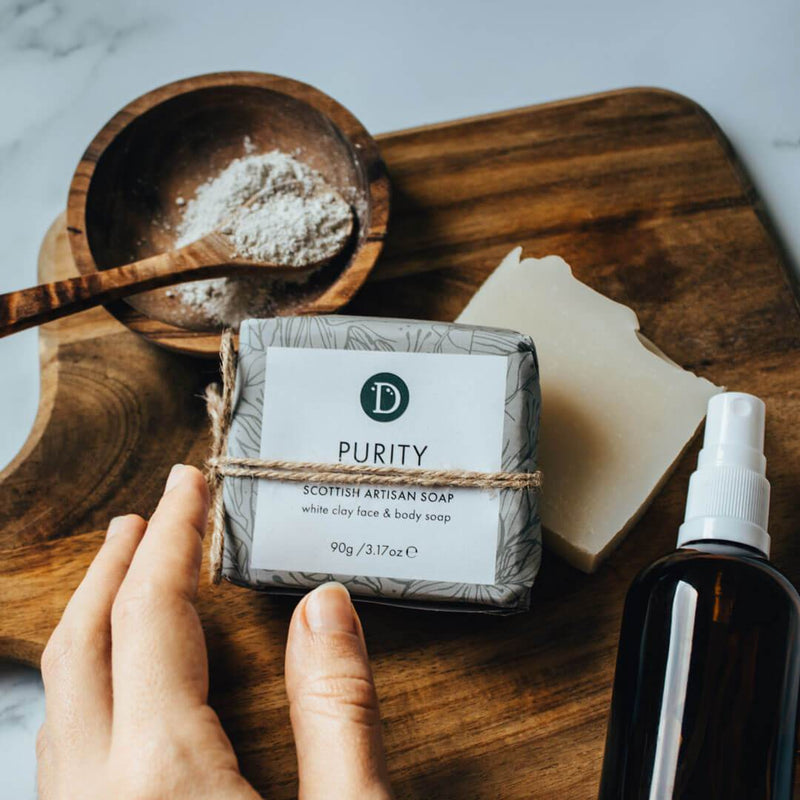Deerieo Purity Face and Body Soap contains white clay and is scented with lavender, bergamot and rose geranium.