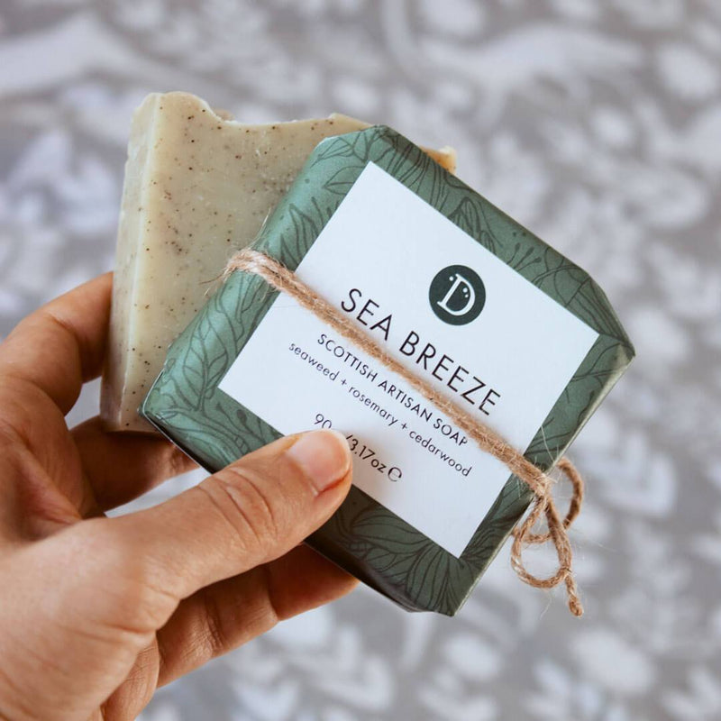 Deerieo Sea Breeze Soap is scented with rosemary, cedarwood and bay leaf, and contains Scottish seaweed.