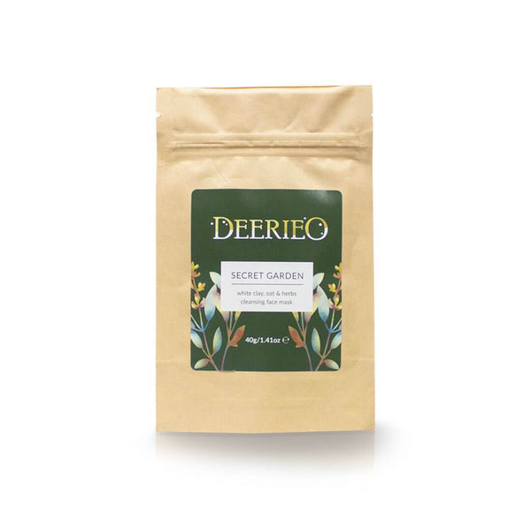 Secret Garden Face Mask Discovery Size by Deerieo Natural Skincare Solutions is packaged in a biodegradable kraft pouch to eliminate packaging waste.