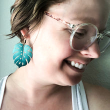 Load image into Gallery viewer, Monstera Leaf Vegan Leather Earrings