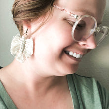 Load image into Gallery viewer, Macramé Hand Tied Leaf Earrings