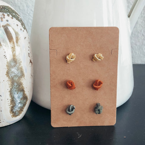 knot vegan leather faux leather stud earrings handmade at sew wyo