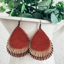 Load image into Gallery viewer, vegan leather faux leather lightweight layered fringe teardrop earrings