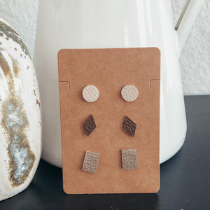 minimalist lightweight vegan leather faux leather geometric stud earrings