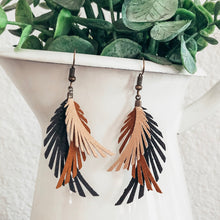 Load image into Gallery viewer, rustic vegan leather faux leather suede feather layered lightweight earrings
