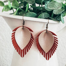 Load image into Gallery viewer, vegan leather faux leather lightweight leaf earrings, joanna gaines inspired, handmade