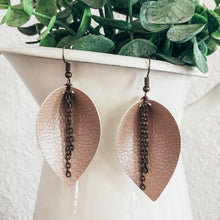 Load image into Gallery viewer, vegan leather faux leather lightweight joanna gaines inspired leaf earrings