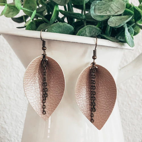 vegan leather faux leather lightweight joanna gaines inspired leaf earrings