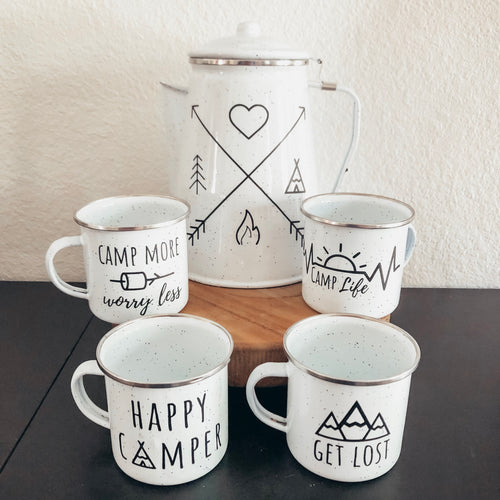 camp coffee percolator set with mugs and funny cute camping quotes