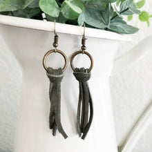 Load image into Gallery viewer, Suede Fringe Earrings