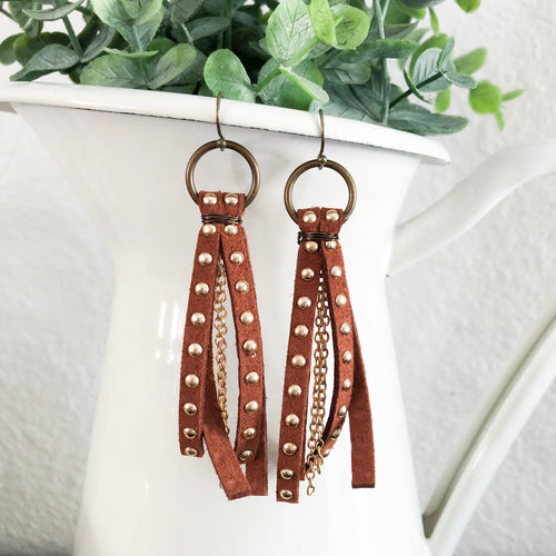 studded suede leather tassel earrings with chain