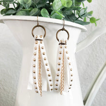 Load image into Gallery viewer, studded suede leather tassel earrings with chain