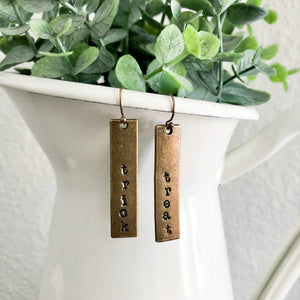 Trick + Treat Bronze Bar Earrings