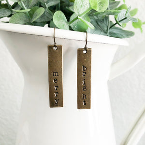 Merry + Bright Bronze Bar Earrings WHOLESALE