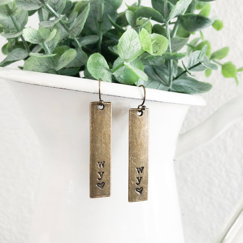 Wyoming Love Bronze Bar Earrings WHOLESALE