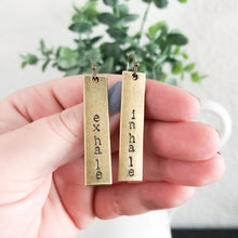 Load image into Gallery viewer, Inhale + Exhale Bronze Bar Earrings