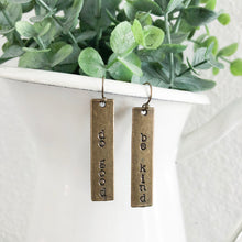 Load image into Gallery viewer, Do Good + Be Kind Bronze Bar Earrings WHOLESALE