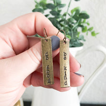 Load image into Gallery viewer, Do Good + Be Kind Bronze Bar Earrings