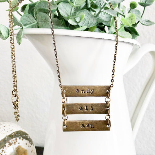 Custom Family Name Bar Necklace
