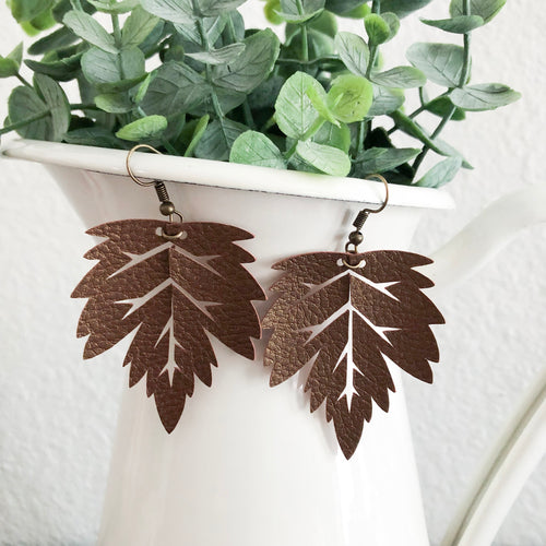 Fall Leaf Leather Earrings