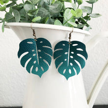 Load image into Gallery viewer, Monstera Leaf Vegan Leather Earrings WHOLESALE