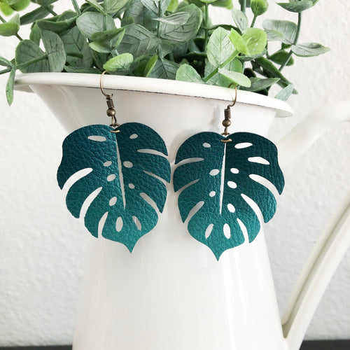 Monstera Leaf Vegan Leather Earrings WHOLESALE