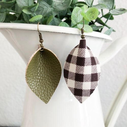 Leather + Plaid Double Sided Petal Earrings