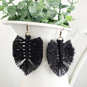 Macramé Hand Tied Leaf Earrings WHOLESALE
