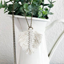 Load image into Gallery viewer, Macramé Leaf Necklace