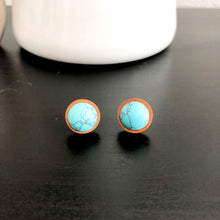 Load image into Gallery viewer, Turquoise + Wood Stud Earrings WHOLESALE