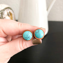 Load image into Gallery viewer, Turquoise + Wood Stud Earrings