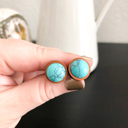 Turquoise + Wood Stud Earrings