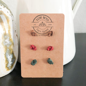 Knotted Leather Stud Earrings