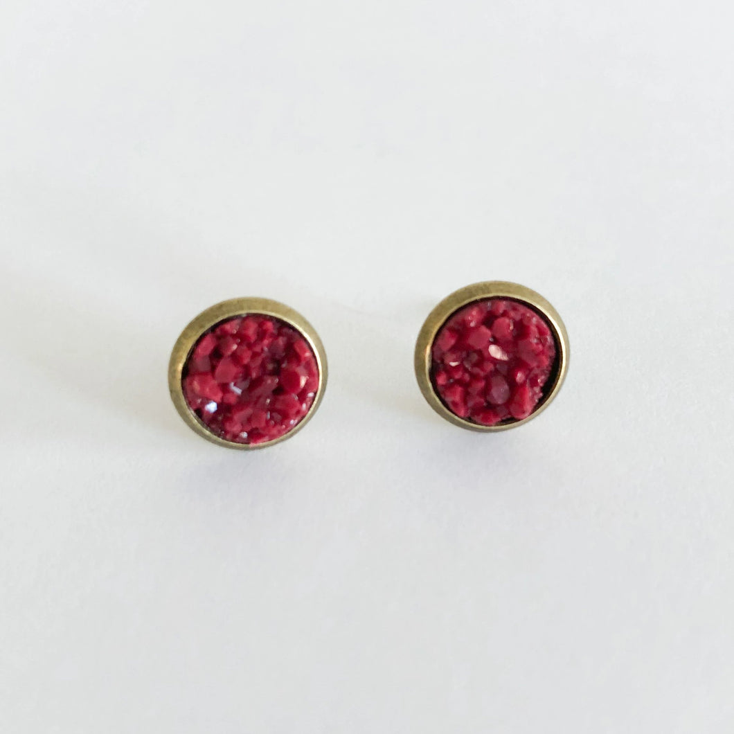 8mm Druzy Stud Earrings WHOLESALE