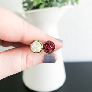 8mm Druzy Stud Earrings