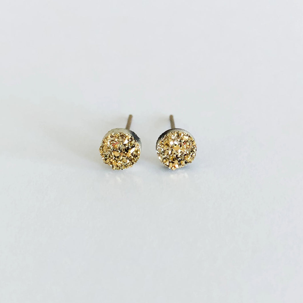 6mm Minimalist Druzy Stud Earrings