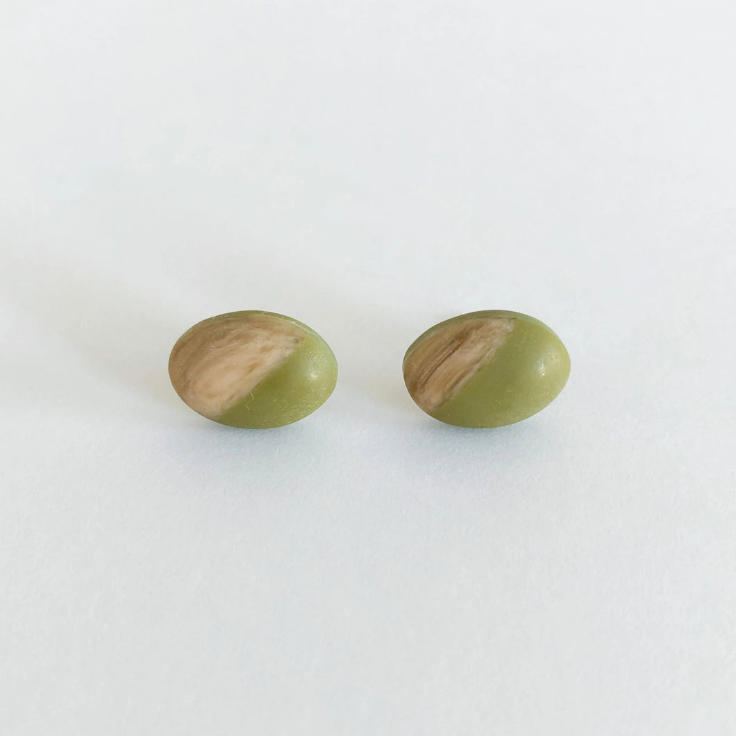 Minimalist Color Block Oval Stud Earrings