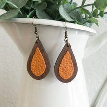 Load image into Gallery viewer, Wood + Leather Teardrops