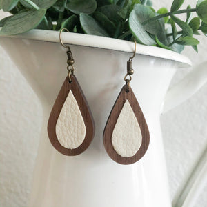 Wood + Leather Teardrops