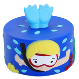 Squishy blue plunger cake