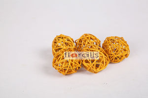 Wicker Ball Orange 5cms, 6cms, 8cms - Pack of 16 Pcs