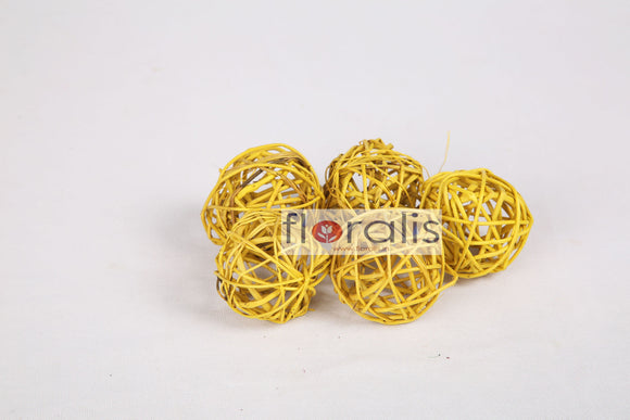 Wicker Ball Yellow 5cms, 6cms, 8cms - Pack of 16 Pcs