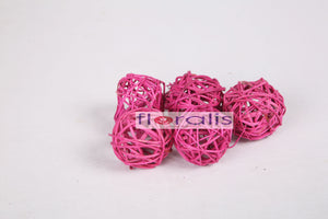 Wicker Ball Pink 5cms, 6cms, 8cms - Pack of 16 Pcs