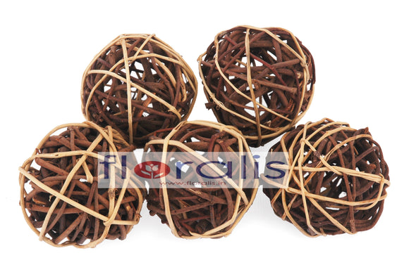 Wicker Ball Brown 5cms, 6cms, 8cms - Pack of 16 Pcs