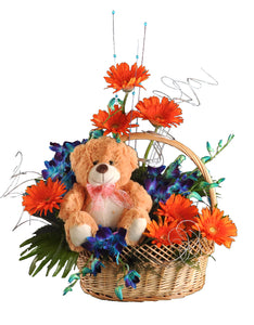 Fresh Flower Arrangement with Cute Teddy