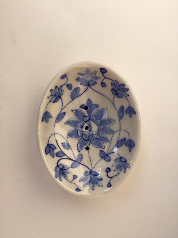 Blue Pottery Leaf Design Soap Dish