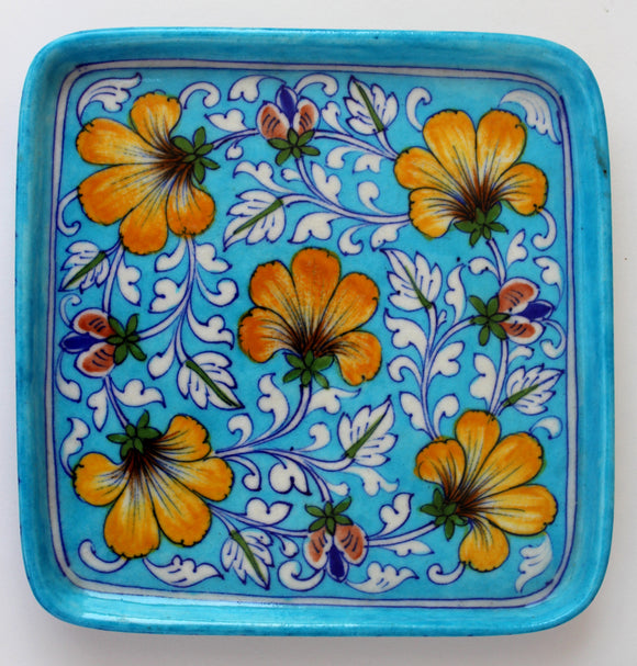 Blue Pottery Floral Design Serving Tray