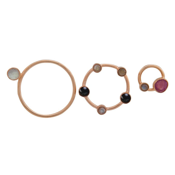 set of three round rings with pink stone 1